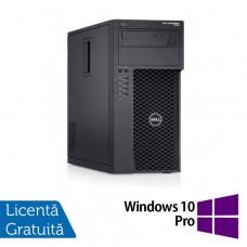 Workstation Dell Precision T1650, Intel Xeon Quad Core E3-1270 V2 3.50GHz - 3.90GHz, 8GB DDR3, 120GB SSD, nVidia GT 605/1GB, DVD-RW + Windows 10 Pro