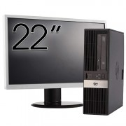 Pachet Calculator HP RP5800 SFF, Intel Core i5-2400 3.10GHz, 4GB DDR3, 250GB SATA, DVD-ROM, 2 Porturi Com + Monitor 22 Inch