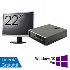 Pachet Calculator HP 6300 SFF, Intel Core i5-2400 3.10GHz, 4GB DDR3, 250GB SATA, 1 Port Com + Monitor 22 Inch + Windows 10 Pro